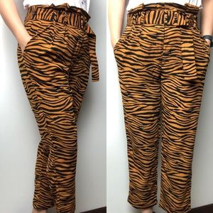 J.O.A. Tiger Print Belted Pants • Size S